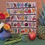 Groente en fruit geborduurd