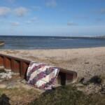 Log Cabin op strand