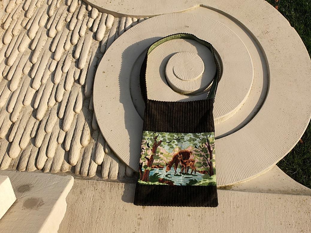 Tapisserie tas met afbeelding hertjes