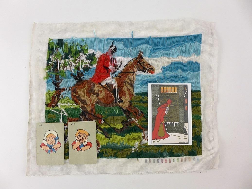 achterkant geborduurd jachttafereel met oude zwarte pieten kaarten