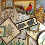 Diverse geborduurde schilderijtjes