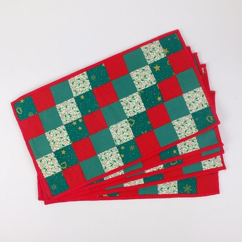 Placemats met patchwork in kerstkleuren