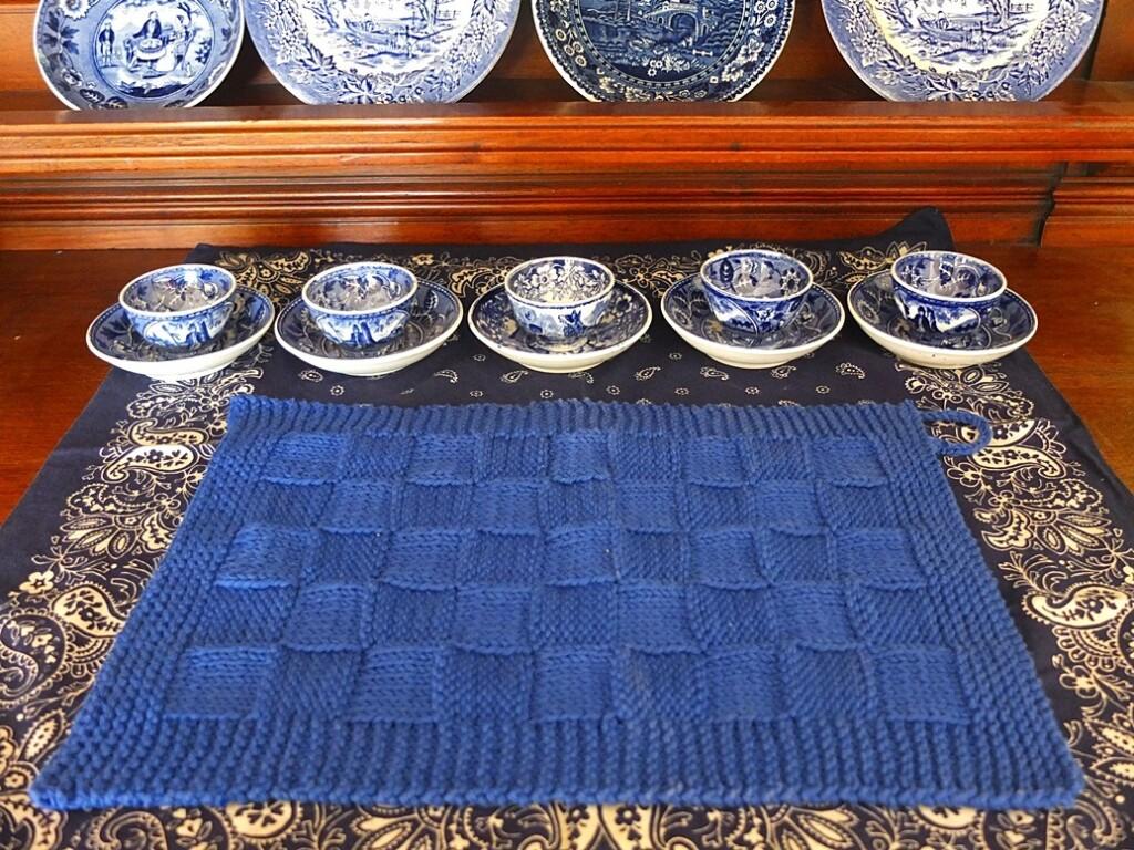 gebreid blauw katoenen handdoekje
