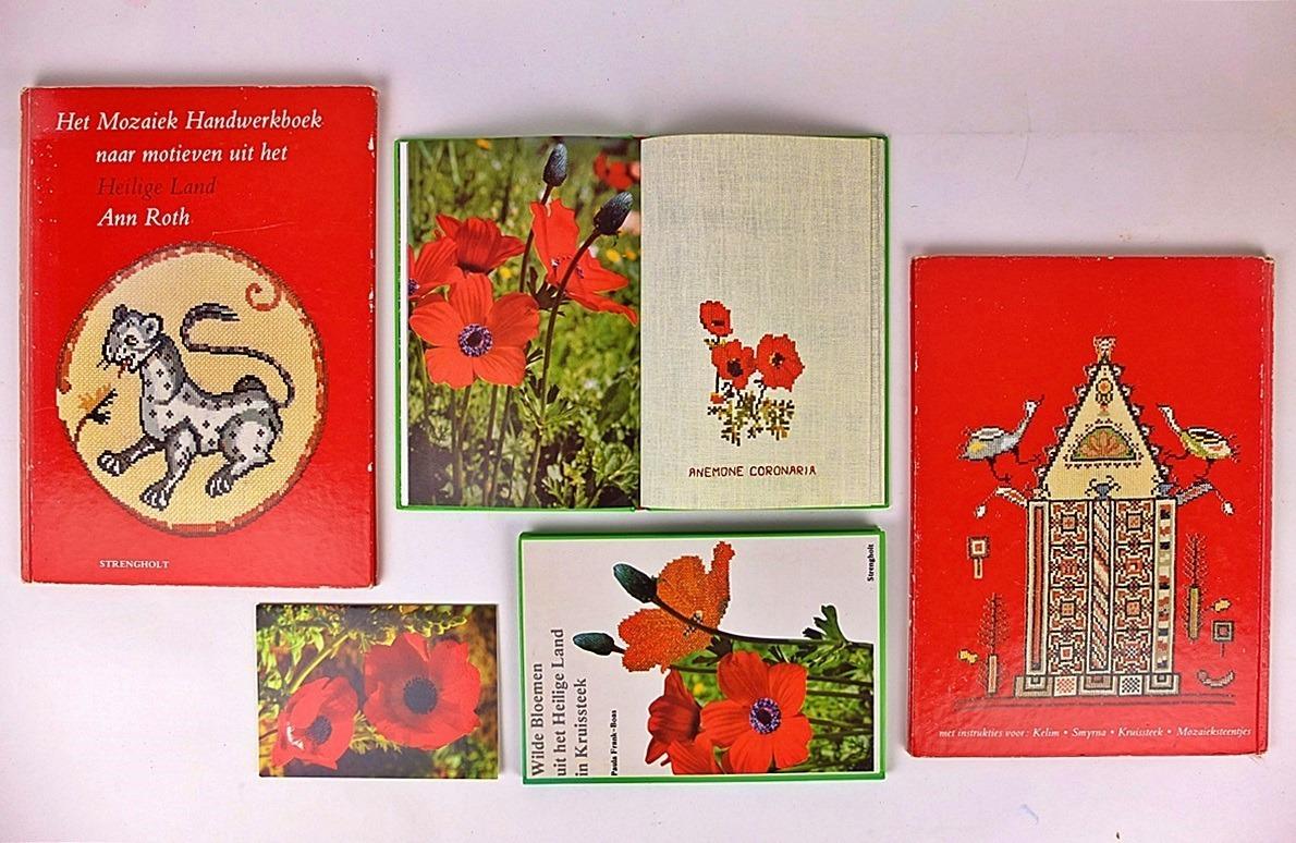 Boeken met borduurpatronen uit het heilige land, over mozaieken en wilde bloemen
