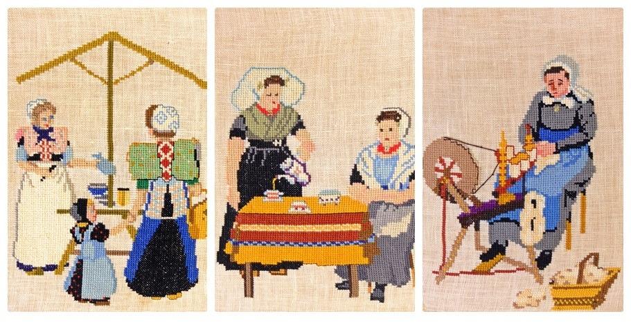 Collage vrouwen in klederdracht geborduurd