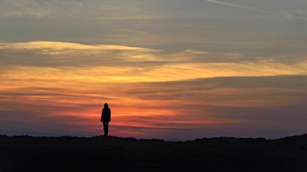 Zonsondergang in oktober op Hoge Veluwe
