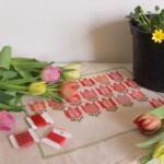 Borduurwerk met tulpen en potje speenkruid