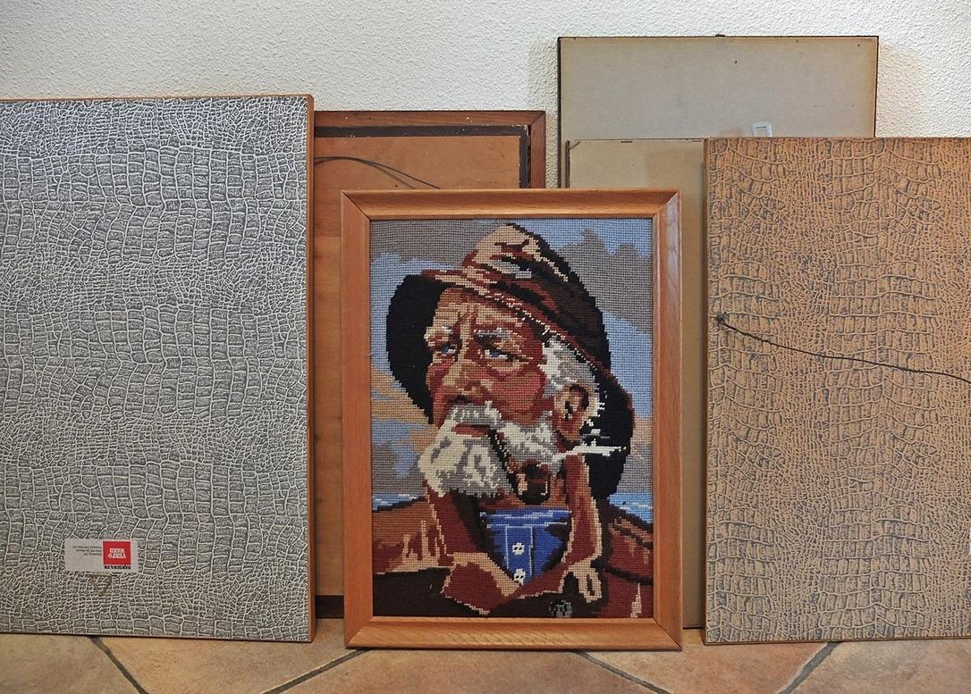 Tapisserie schilderij man met pijp