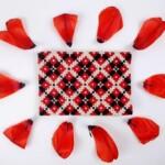 Borduren rood en zwart op grof stramien