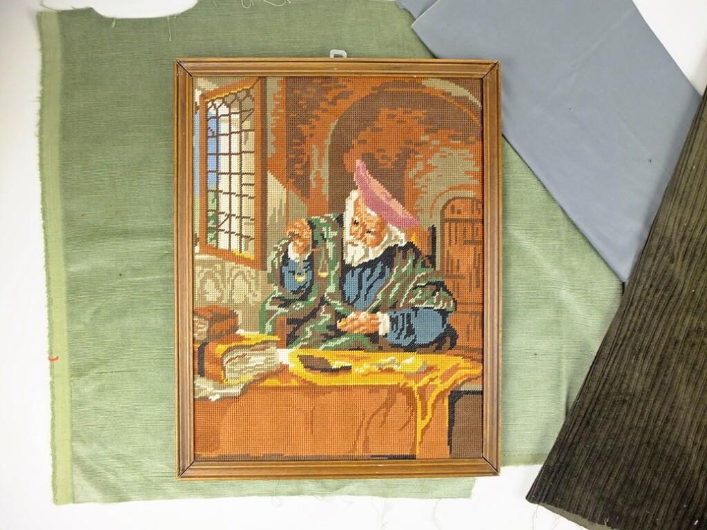 Geborduurd schilderij Goudweger