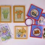 Kleine schilderijtjes en borduurpakketjes