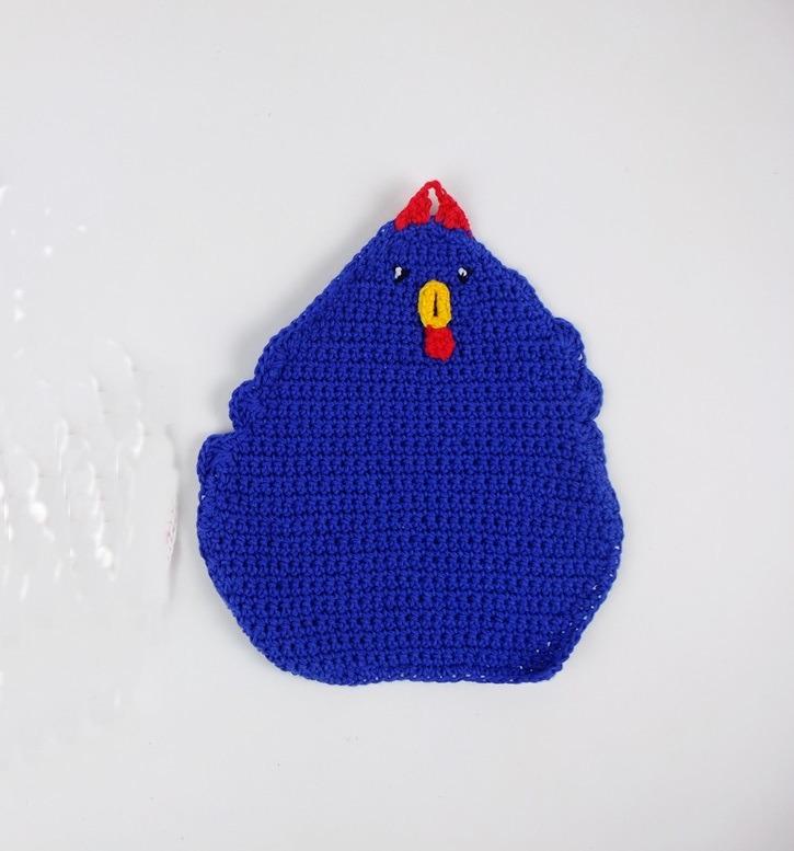 Pannelap blauw gehaakte kip