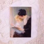 Ansichtkaart van schilderij Prentjes kijken van Piet Slager