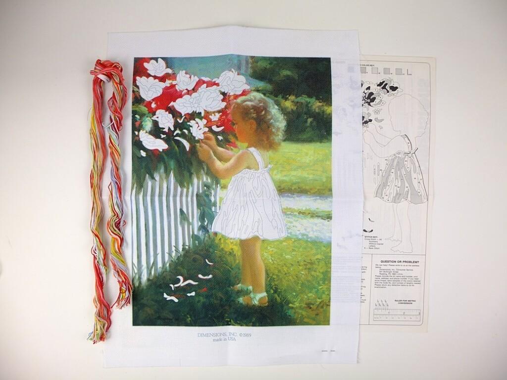 Borduurpakket uit Amerika bloemenmeisje
