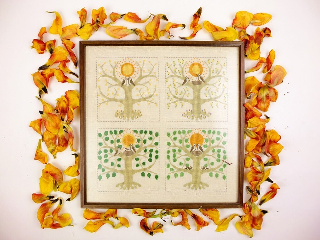 Borduurwerk vier seizoenen met tulpenbladeren rand