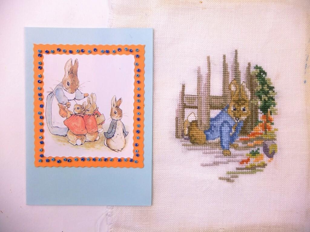 Peter Rabbit geborduurd en kaart
