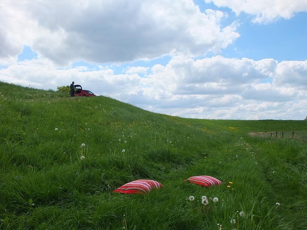 Twee rode kussens bij Wageningen