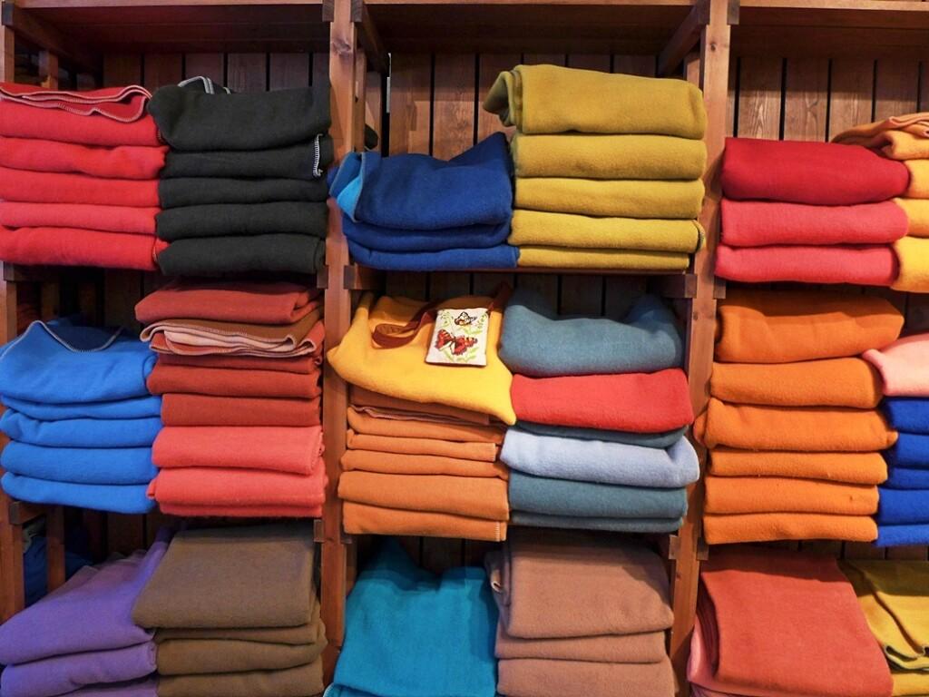 Wollen dekens in Textielmuseum