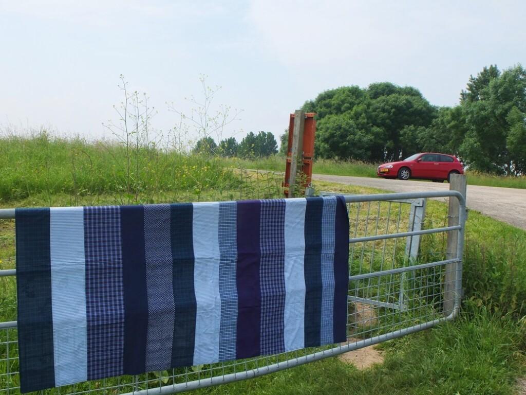 Blauw patchwork laken
