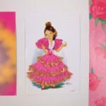 Danseresje op roze textielkaart