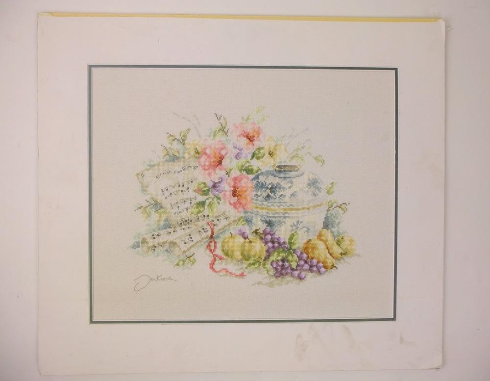 Geborduurd schilderij vaas met bloemen