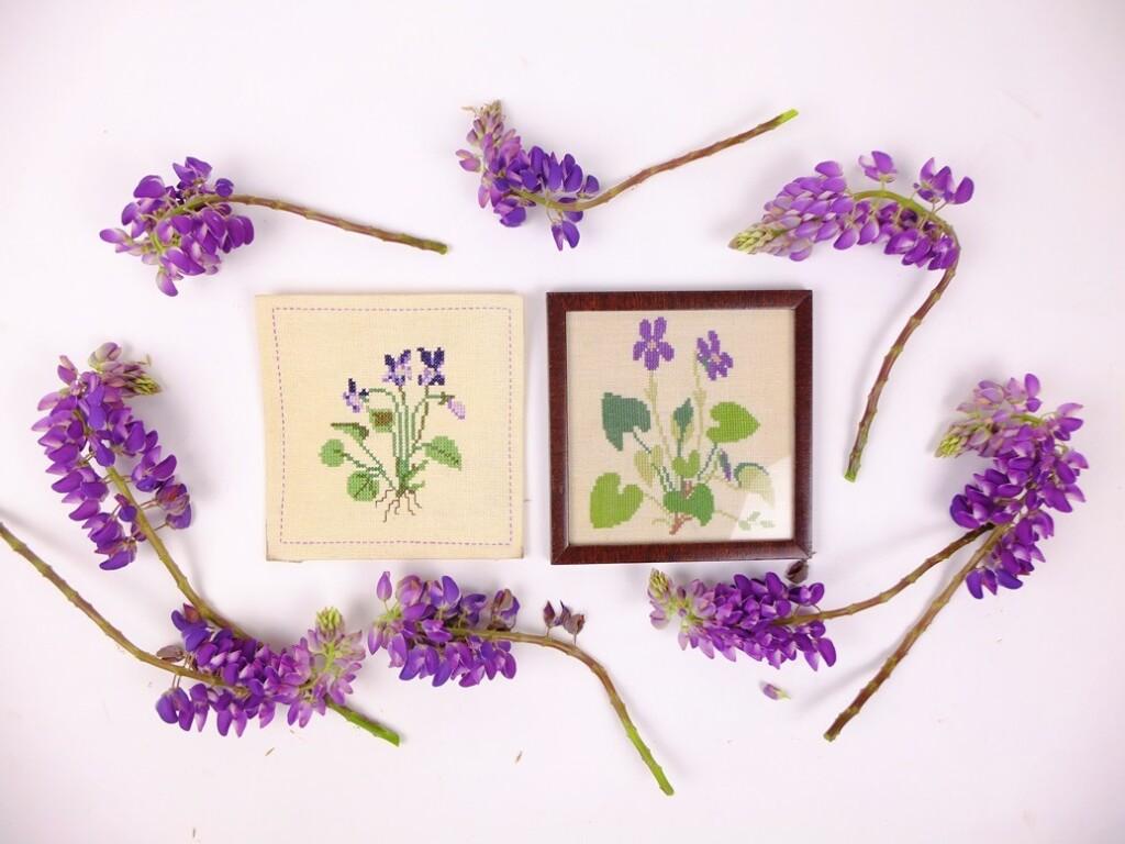 Twee schilderijtjes viooltjes met Lupinerand