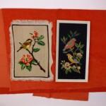 Twee schilderijtjes vogeltjes