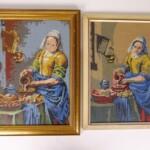 Twee tapisserie schilderijen melkmeisje Vermeer