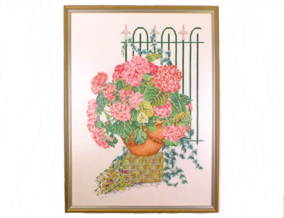 Schilderij geborduurde hortensia