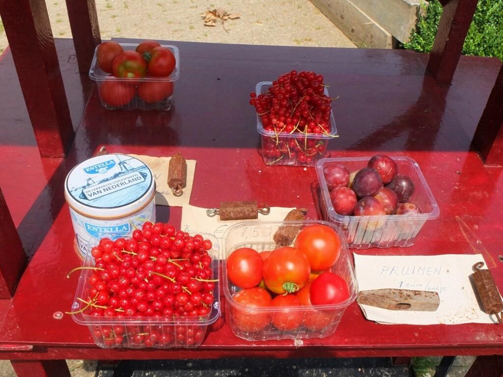 Rood fruit langs de weg