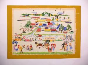 Achterkant oud borduurwerk landschap