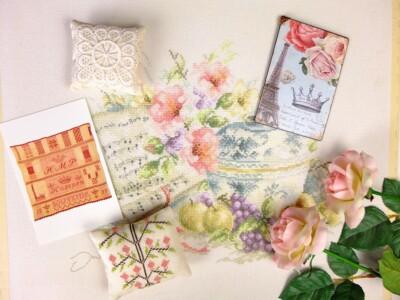 Borduurwerkjes diverse roze