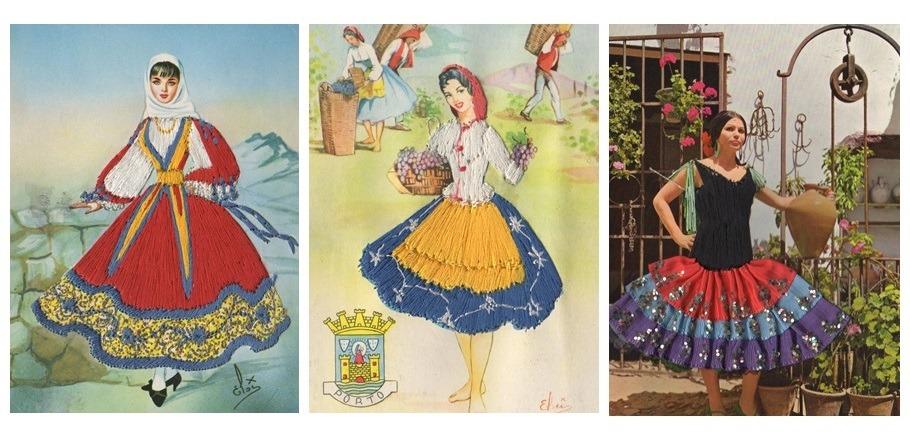 Drie vintage textielkaarten uit Spanje