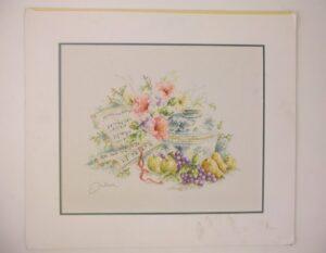 Geborduurd schilderij vaas met bloemen en passepartout