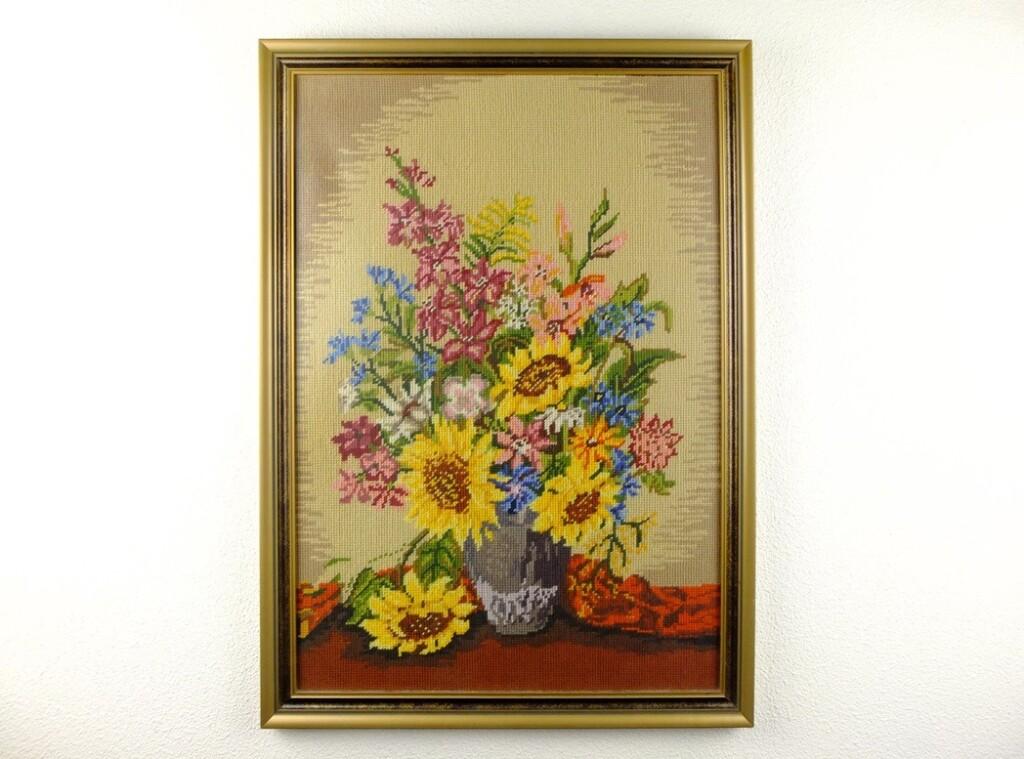 Geborduurd schilderij zonnebloemen