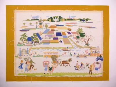 Oud borduurwerk landschap