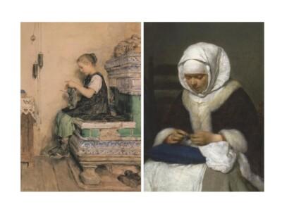 Twee textielkaarten handwerkende vrouwen