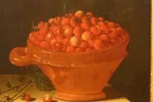 Uitsnede schilderij aardbeien Adriaen Coorte