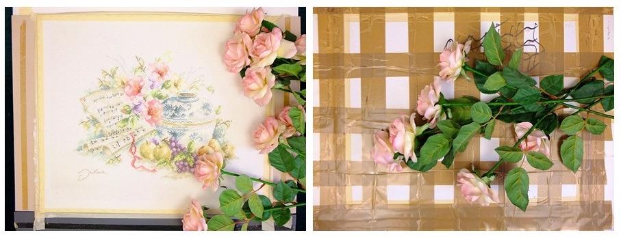 Voor- en achterkant borduurwerk met veel tape