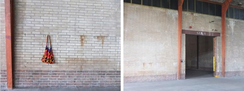 Bilums aan muur oude fabriekshal