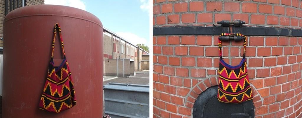 Bilums aan rode tank en schoorsteen