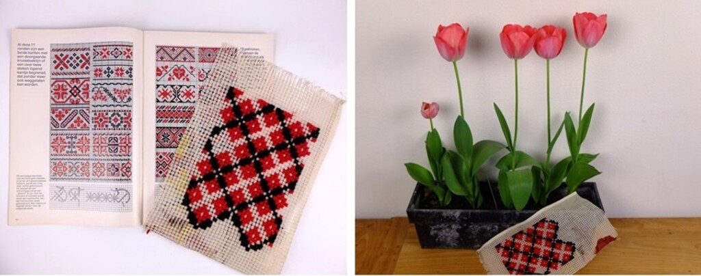 Borduren in rood en zwart op grof stramien