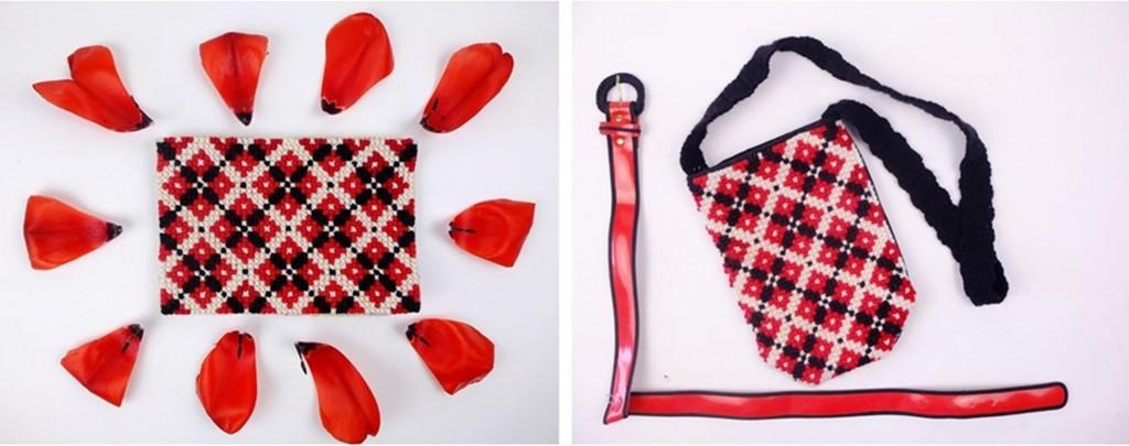 Borduurwerk voor tasje in rood en zwart