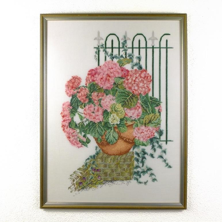 Groot geborduurd schilderij Hortensia