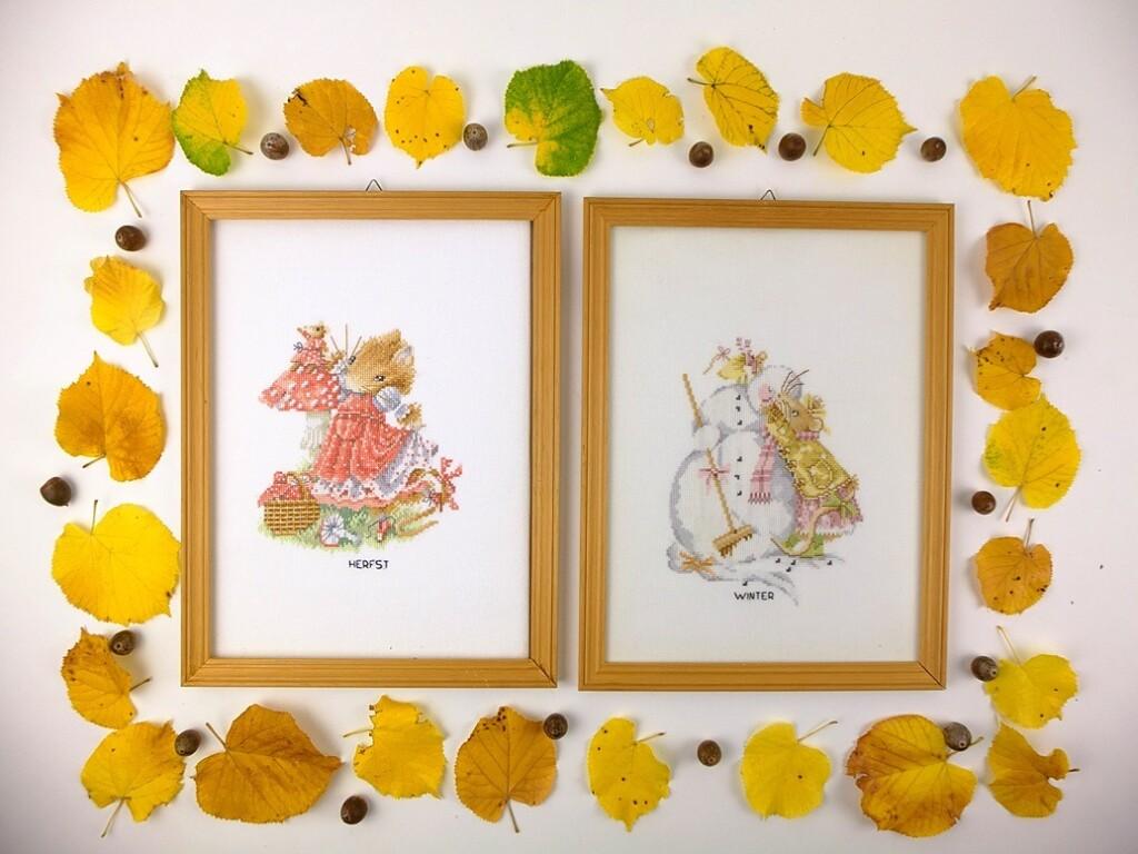 Schilderijtjes Vera de Muis Herfst en Winter