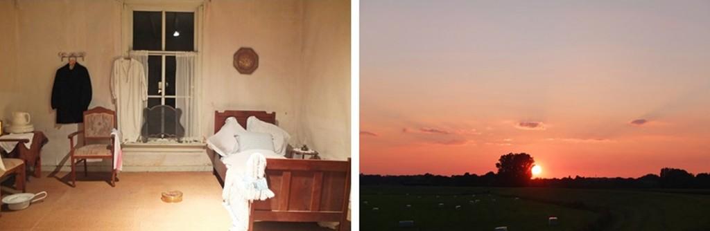 Slaapkamer in boerderij en zonsondergang bij 't Halfvasten