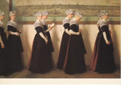 Afbeelding van schilderij Nicollas van der Waay, weesmeisjes uit burgerweeshuis