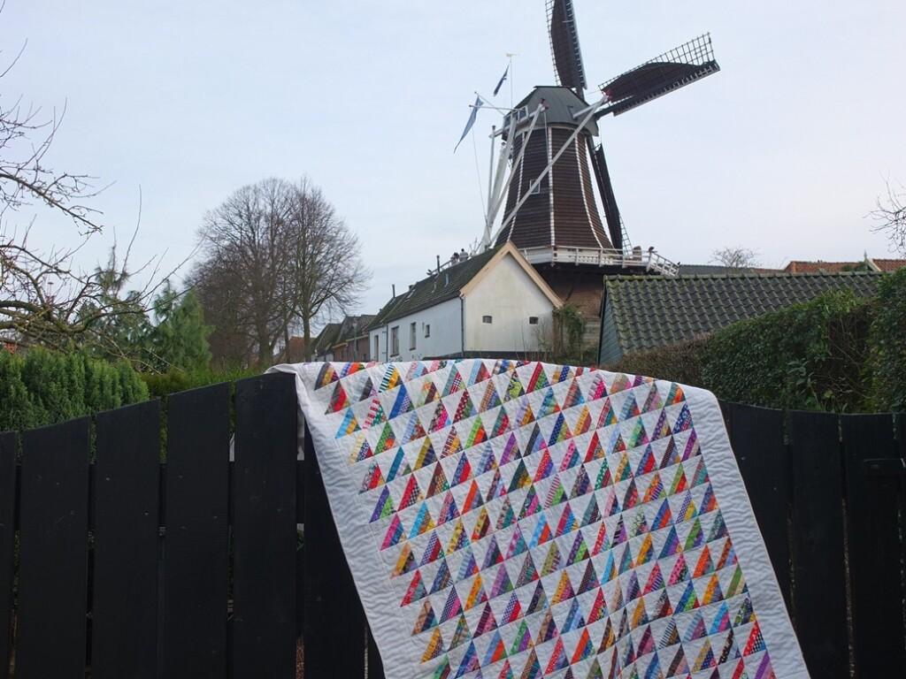 Quilt Roman stripes bij molen