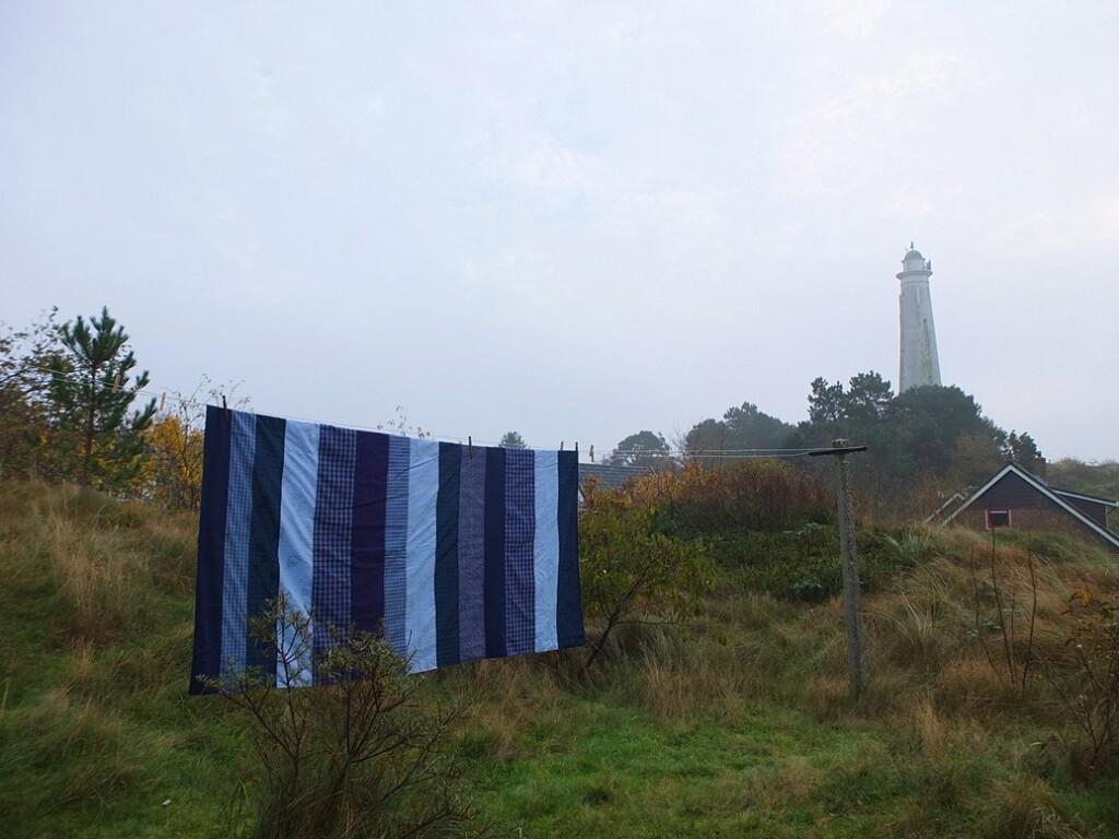 Strokenquilt aan waslijn op Schiermonnikoog