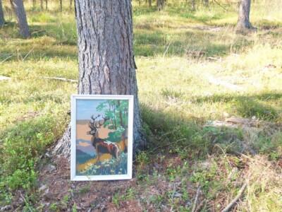 Tapisserie schilderij hert